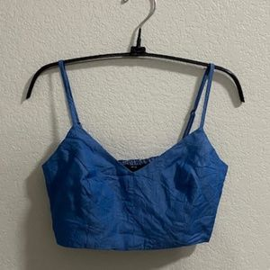 Lulu's Chambray Crop Top Size Small